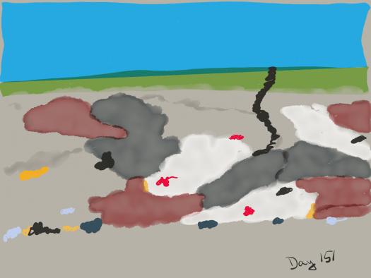 Watercolor of a cross-section of the earth. Top, sky. Then, grass and some dirt. Then a mishmash of different colors of stone: grey, tan, red, and white. Flecks of black and gold and red and blue can be seen throughout the mishmash.