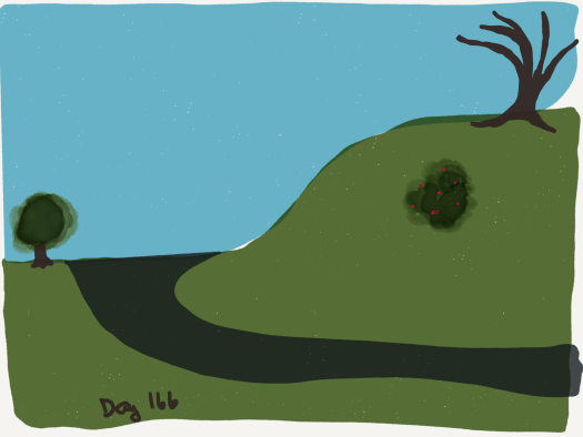 Blue sky and a smooth green hill, with a grey path around the hill and some bushes nicely laid out on the ground.