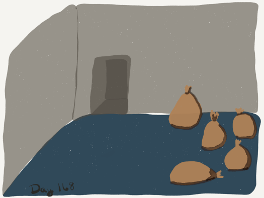 Watercolor of a chamber with a bedrock floor and grey walls, filled with leather sacks that are tied off at the top.