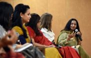 Kiran Manral, writer, author and columnist, during the conference on Women's Achievers at World trade centre on Thursday. Photo: Fariha Farooqui