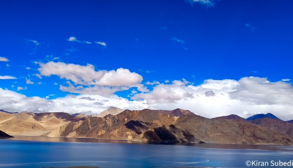 Pangong Tso is elevated at 4350 meters about 14,270 feet from sea level.