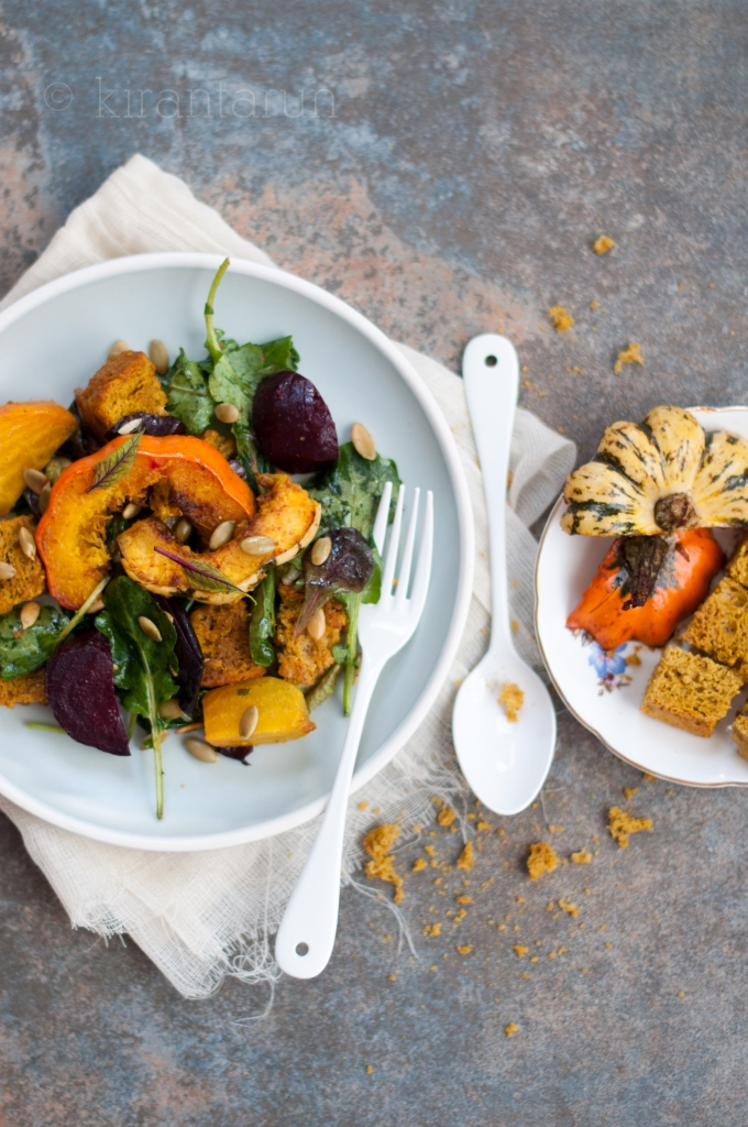 Autumn Panzanella Salad | KiranTarun.com