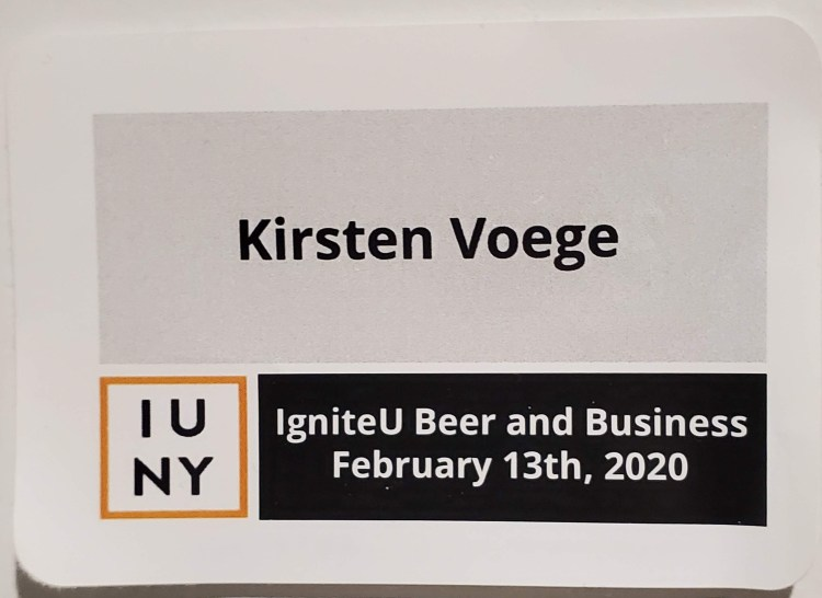 photo of a nametag from the Ignite U Beer and Business Networking Event from February 1th, 2020.