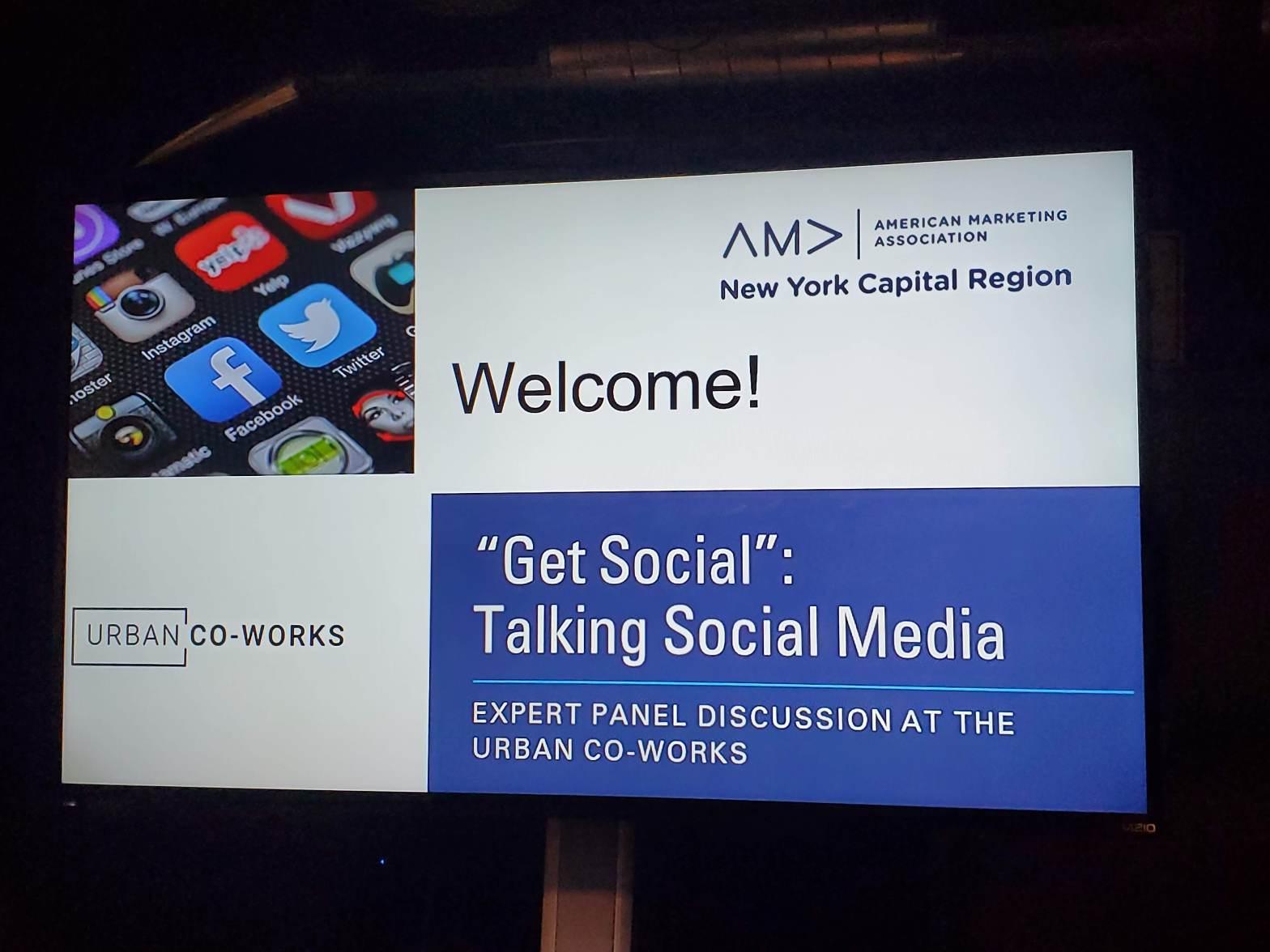 "Billboard sign for AMA NY Capital ""Get Social"" Talking Social Media"