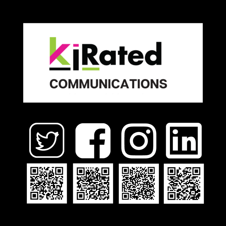 Follow Kirated Communications on instagram, twitter, facebook and linkedIN using these QR codes #socialMedia