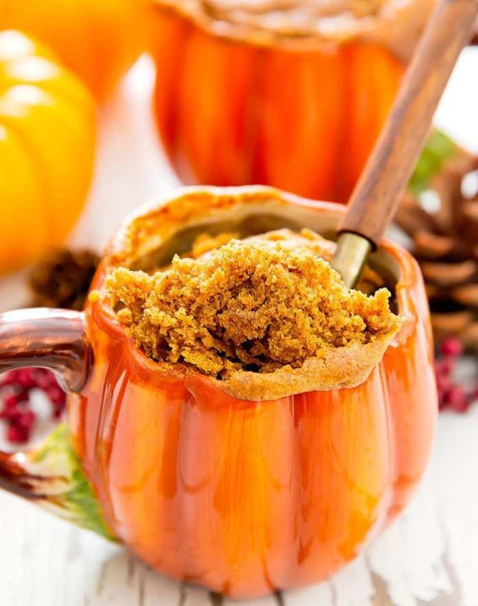 photo of a pumpkin mug cake