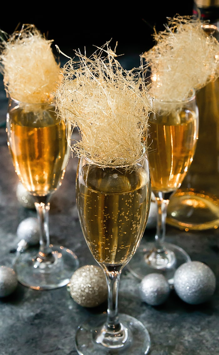 Champagne Cocktails With Spun Sugar
