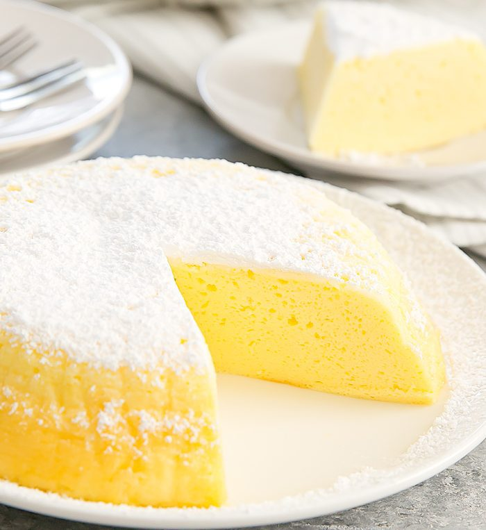 Instant Pot Japanese Cheesecake on a white plate