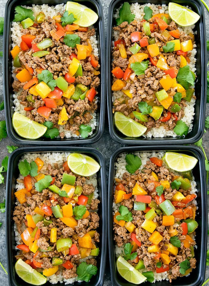 Fajita bowl with cauliflower rice meal prep