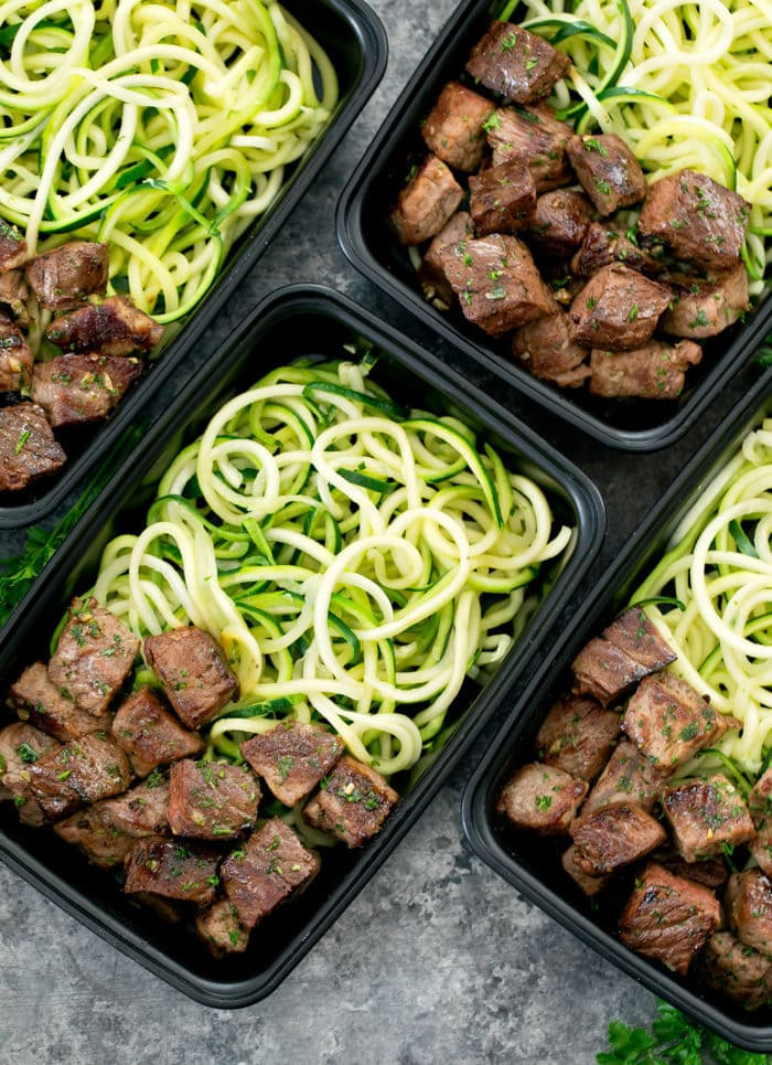 Garlic Butter Steak Bites with Zucchini Noodles meal prep healthy and easy