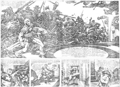 1976 - Captain America Bicentennial Battles page 14-15 pencil art photocopy