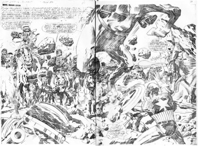 1976 - Captain America Bicentennial Battles page 30-31 pencil art photocopy
