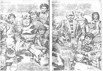 1976 - Captain America Bicentennial Battles pages 78 & 79 pencil art photocopy