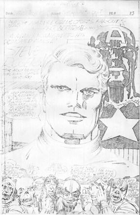1976 - Captain America Bicentennial Battles page 83 pencil art photocopy