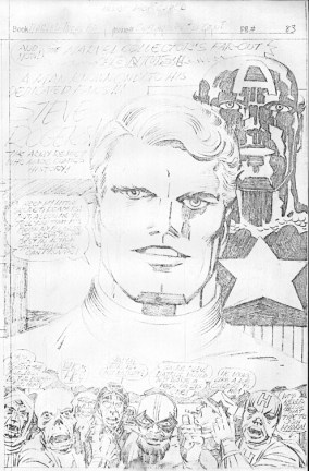 1976 - Captain America Bicentennial Battles page 83 pencil art photocopy