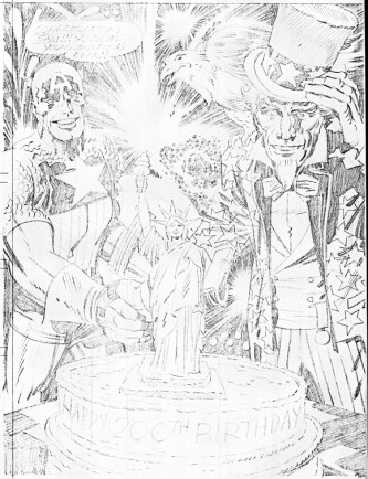 1976 - Captain America Bicentennial Battles back cover pencil art photocopy