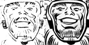 Comparison of Big Bear's face between Kirby's pencil art and Giacoia's ink art