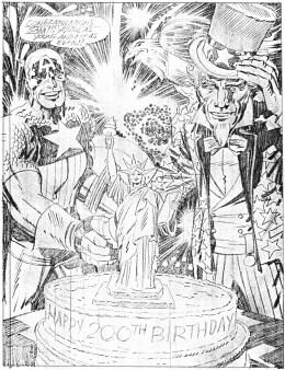 1976 - Captain America Bicentennial Batles back cover pencil art