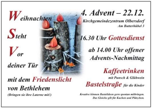 Friedenslicht zum 4. Advent
