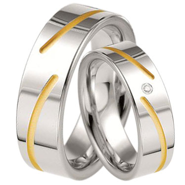 Bicolor Silver Breuning Wedding Ring with or without