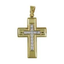 Σταυρός Βάπτισης Γυναικείος Σε Δίχρωμο Χρυσό K9 Καρατίων Με Πέτρες ST2494