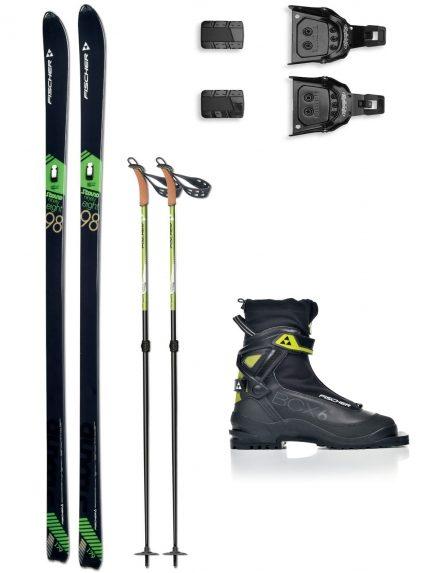 Лыжи Fischer S-Bound 98, туристические крепления, палки, ботинок