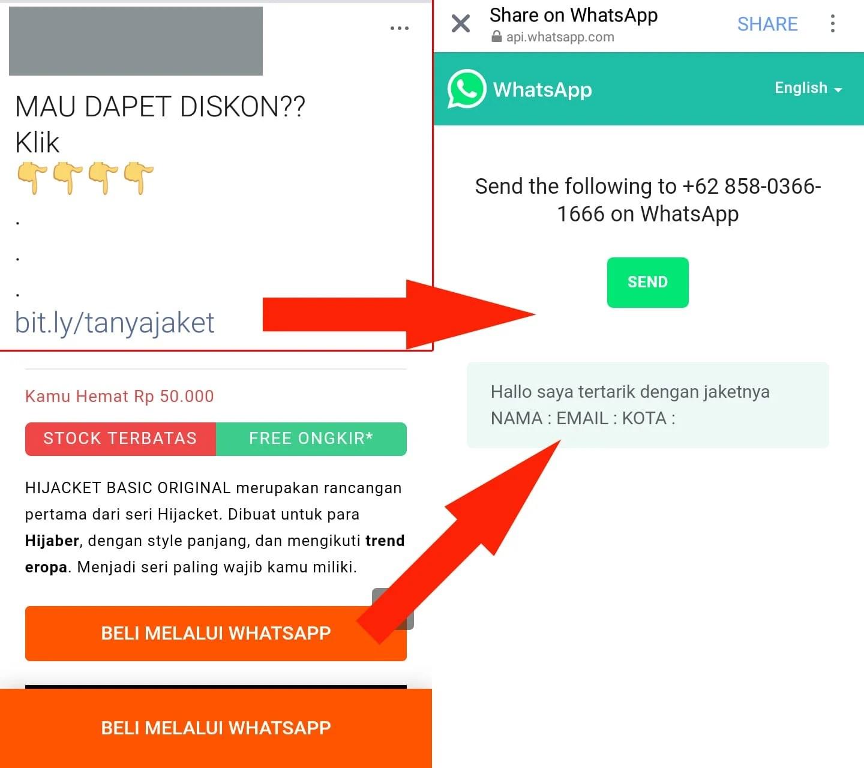 tampilan link whatsapp dan tombol whtasapp