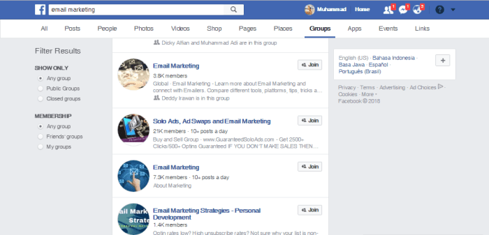 Facebook Group - Sumber Traffic Website Alternatif