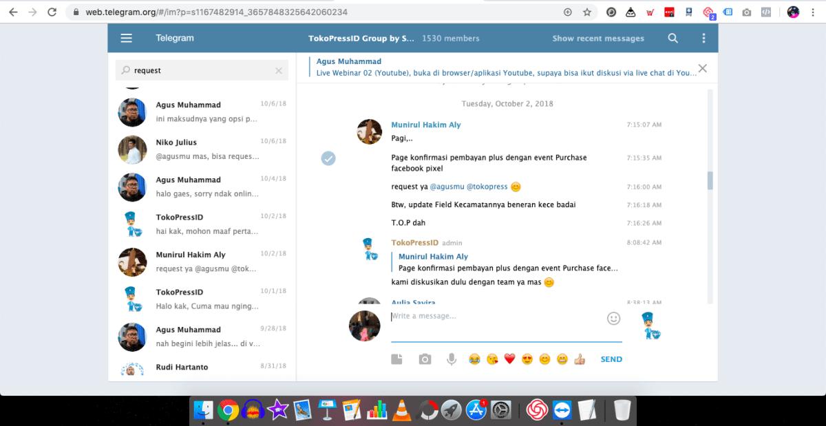 mengetahui keinginan pelanggan lewat grup Telegram