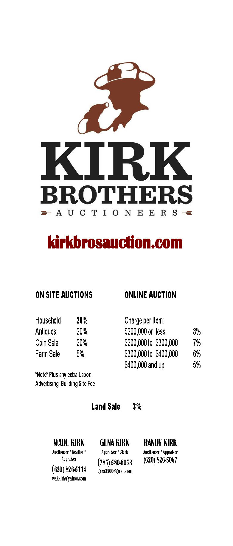 Kirk Brothers Auctioneers rates