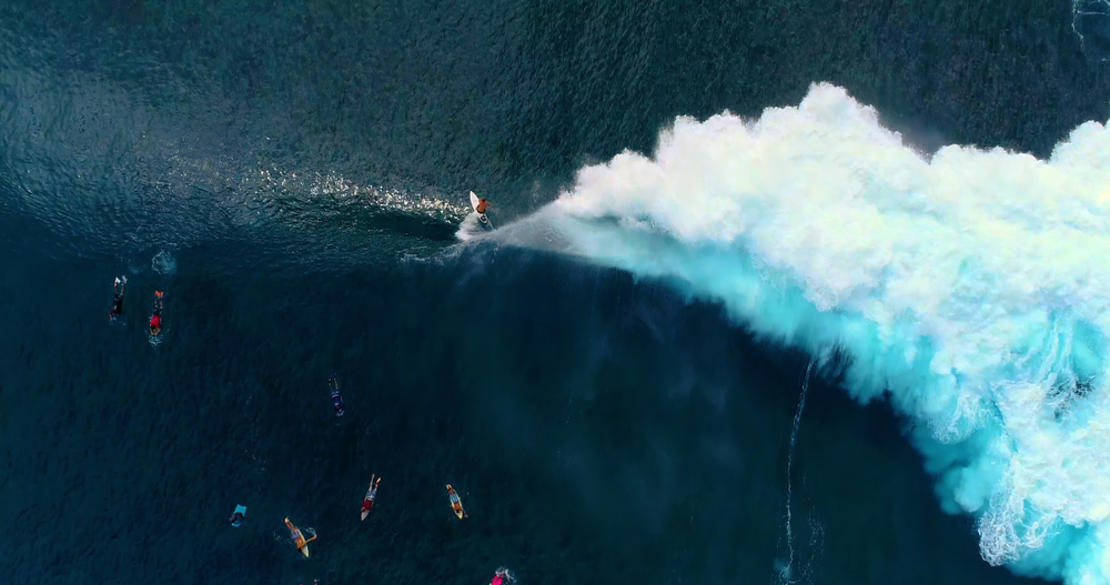Surfing in aerial view, Teahupoo Papeete French Polynesia