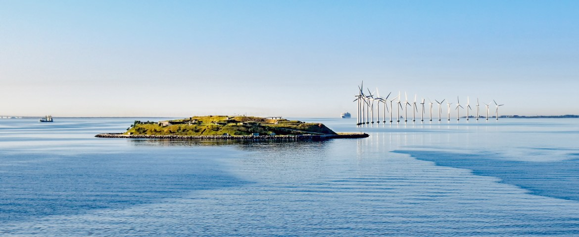 Wind energy collection of the coast of Island Middelgrundsfortet near Copenhagen