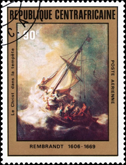 A central African Republic stamp with the painting Christ in the Storm on the Sea of Galilee by artist Rembrandt