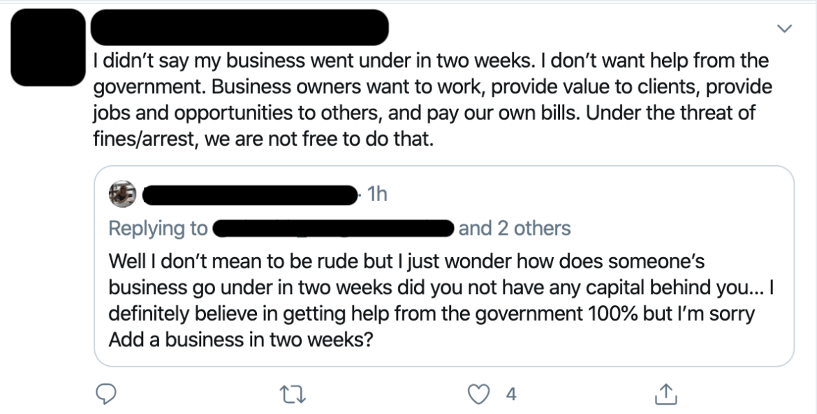 Tweet by U.S. entrepreneur losing her business due to mandatory and unconstitutional government orders