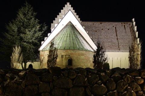 Led lys på Horne kirke