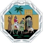 piirroskuva, jossa Jeesus ratsastaa asilla Jeruselemiin