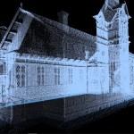 Miljoonista pisteistä koostuva kolmiulotteinen pistepilvi Utran kirkosta