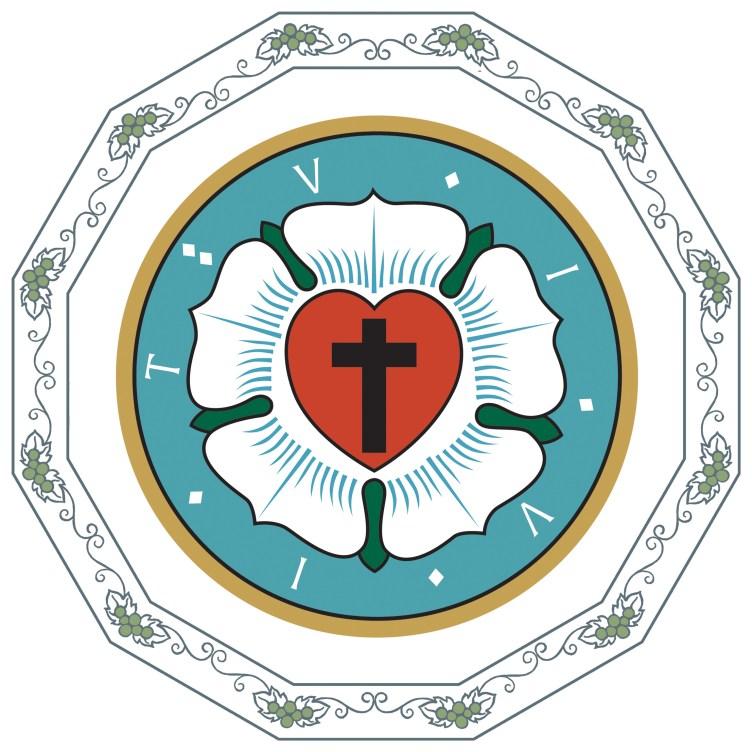 Uskonpuhdistukseen liittyvä symbolinen kuva, jossa on risti ja valkoinen kukka.