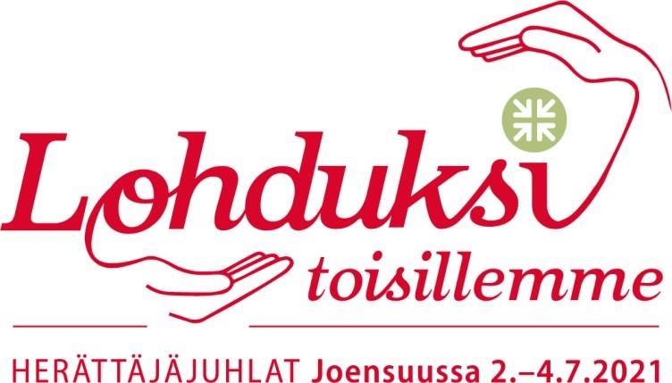 Joensuun herättäjäjuhlien tunnus, jossa teksti Lohdiksi toisillemme, herättäjäjuhlat Joensuussa 2.-4.2021.
