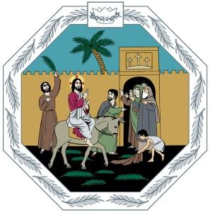 Jeesus ratsastaa aasilla, ihmiset heiluttavat palmunoksia ja laskevat vaatteita tielle.
