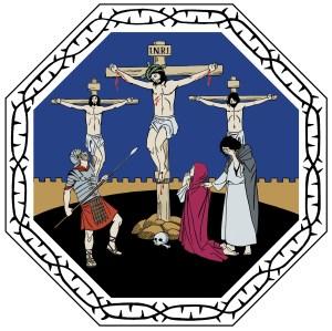 Piirroskuvassa Jeesus on ristiinnaulittuna keskimmäisellä ristillä, molemmilla puolillaan ristiinnaulittuna Raamatun kertomuksen mukaisesti ryövärit. Jeesuksen lähimmät itkevät ristin juurella, sotilas vartioi Jeesusta keihäs ojennettuna. Jeesuksen käsistä, jaloista ja rinnasta vuotaa veri.