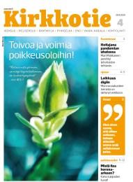 Kuva Kirkkotie-lehden kannesta. Kannen kuvassa aukeava, keväinen silmu.