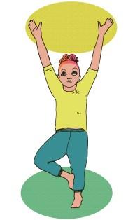Piirroskuva, jossa nainen seisoo yhdellä jalalla niin, että toisen jalan jalkapohja on nostettu toisen jalan pohjetta vasten. Kädet ovat suorina kohti taivasta.
