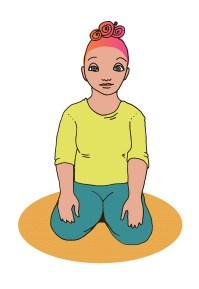 Nainen istuu polvi-istunnassa jalkojensa päällä, kädet laskettuna reisien päälle lähelle polvia.