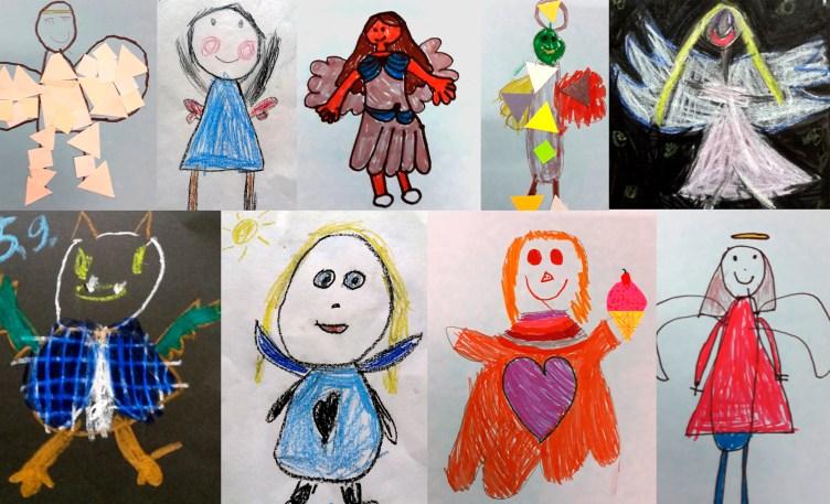 Kuvaan on koottu lasten värikkäitä piirroksia enkeleistä.