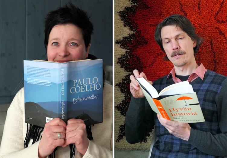 Niina Riihimäki kurkistaa Paulo Coelhon kirjan Havahtuminen takaa. Topi Linjama selailee Rutger Bregmanin teosta Hyvän historia.e