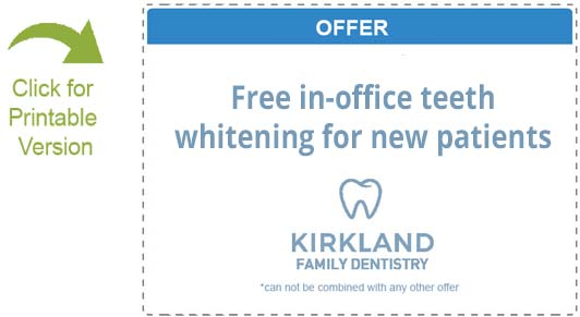 Free in-office teeth whitening for new patients