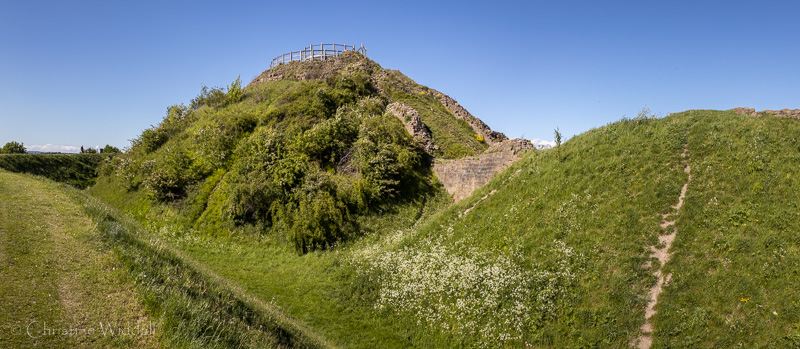 Motte (left) and mound of the bailey (right) © C Widdall