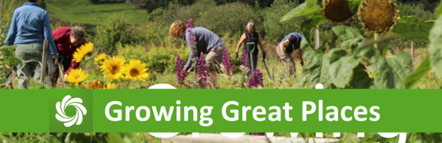the words Growing great places overlaying an image of volunteers gardening