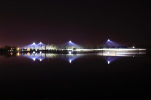 CRANDIC railroad reflects on Cedar Lake in early morning hours.